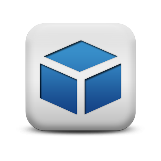 Blue and White Square Icon Com
