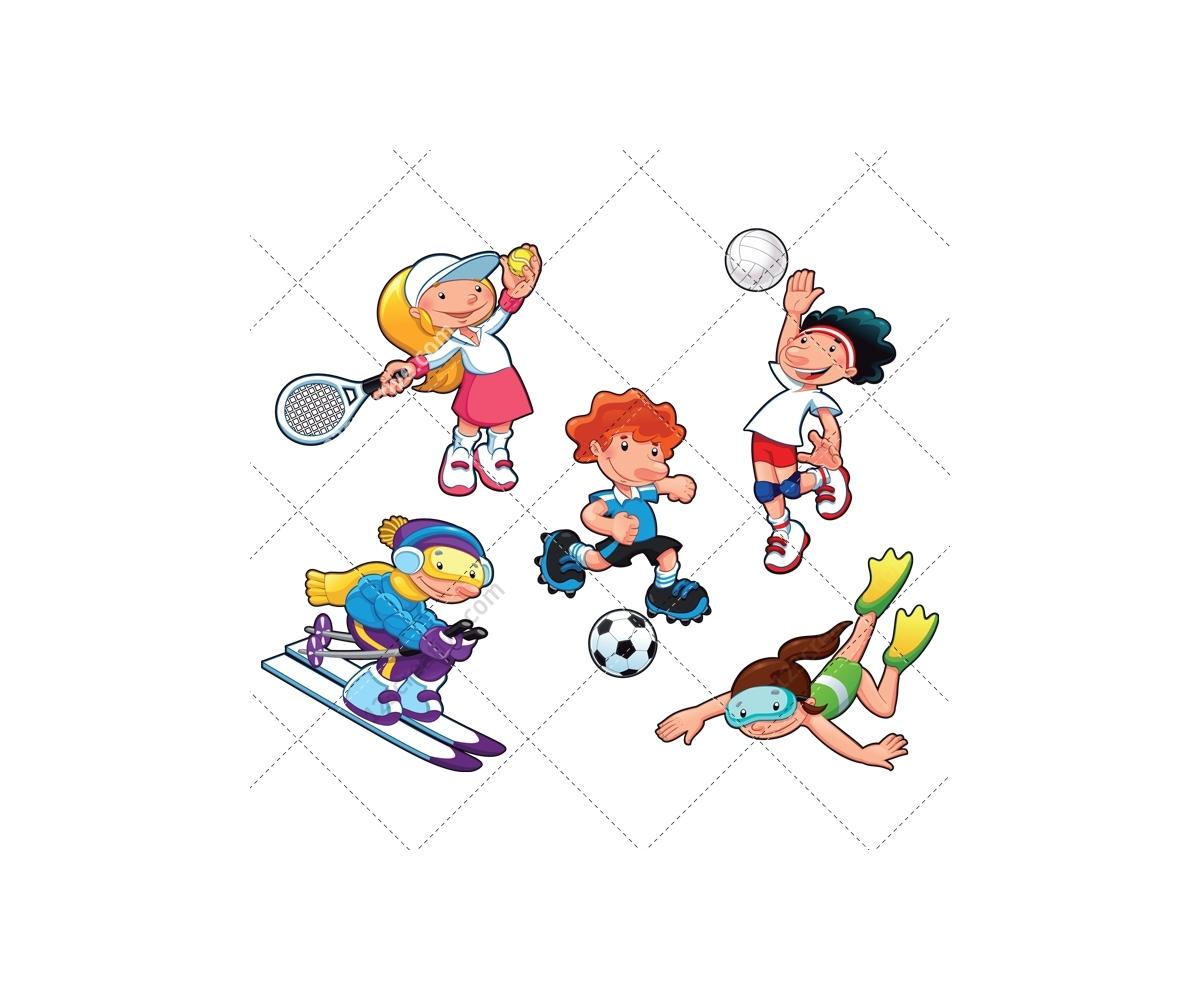 Cartoon Girl Playing Sports