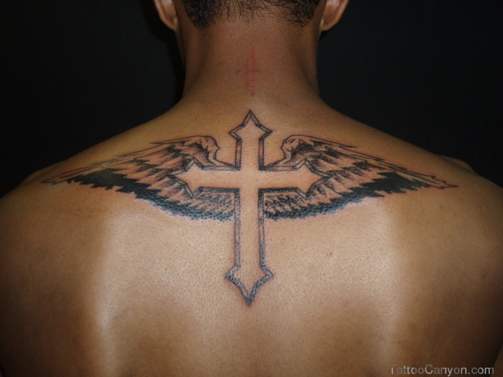 Cross with Wings Tattoos for Men
