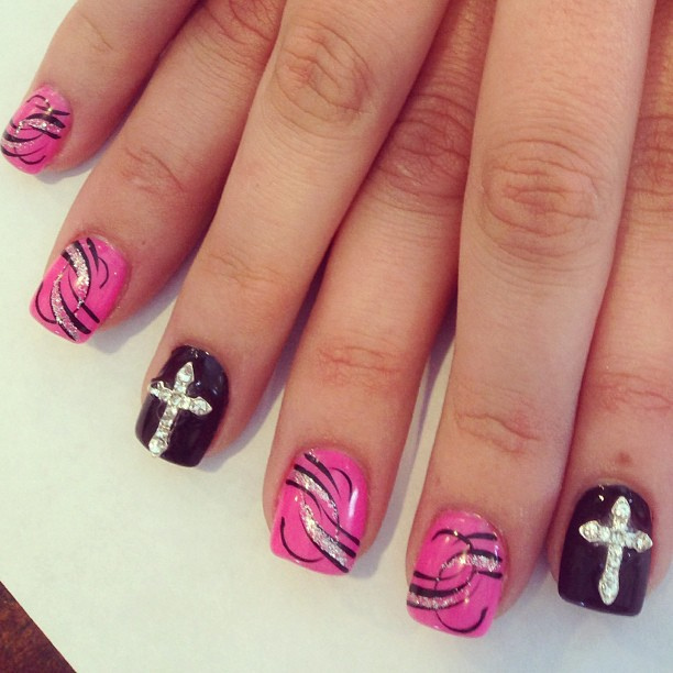 Crosses Nail Designs with Rhinestones - 11 Cross Nail Designs Images - Nail Designs With Crosses, Acrylic