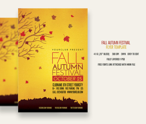 19 Free Fall Festival Flyer Template PSD Images
