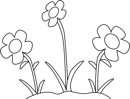 Flower Garden Clip Art Black and White