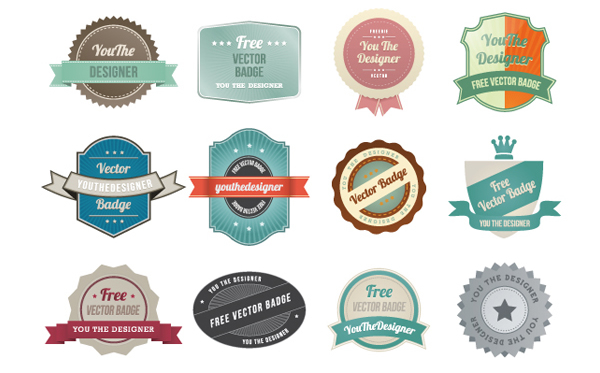 13 Vintage Badges Vector Graphic Images