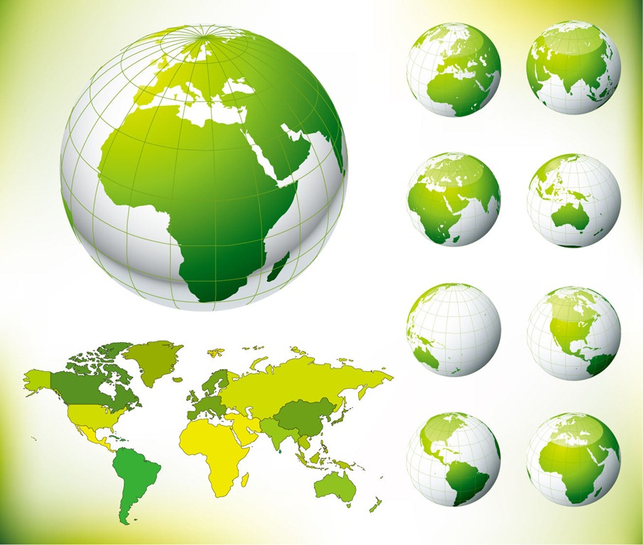 15 globe map vector graphic images free vector world map free green earth vector gumiabroncs Gallery