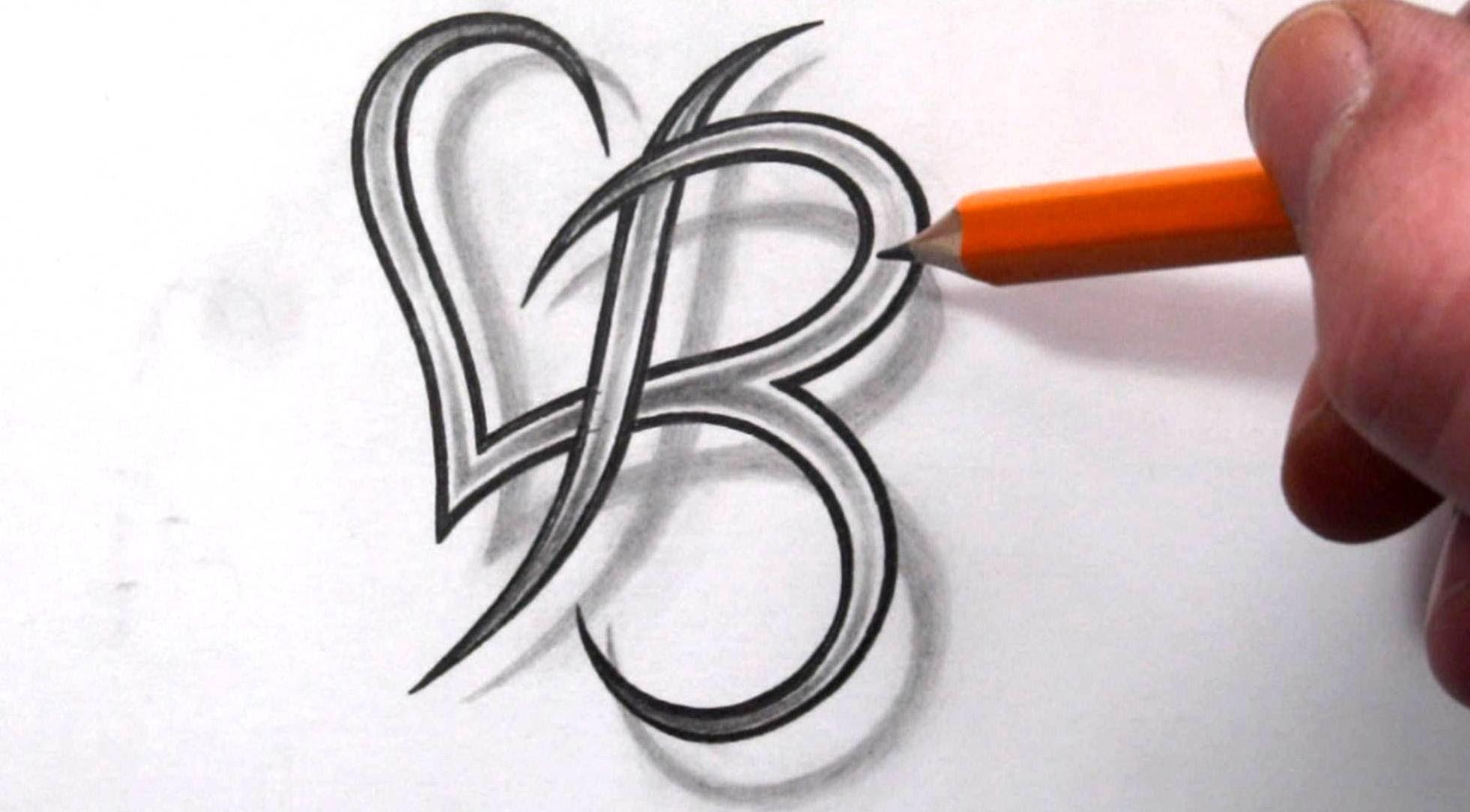 Letter B Heart Tattoo