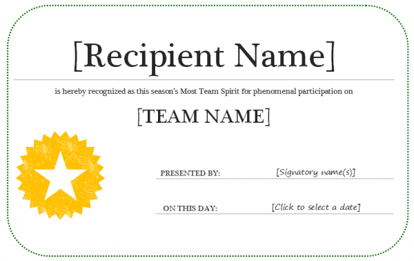 microsoft word award template