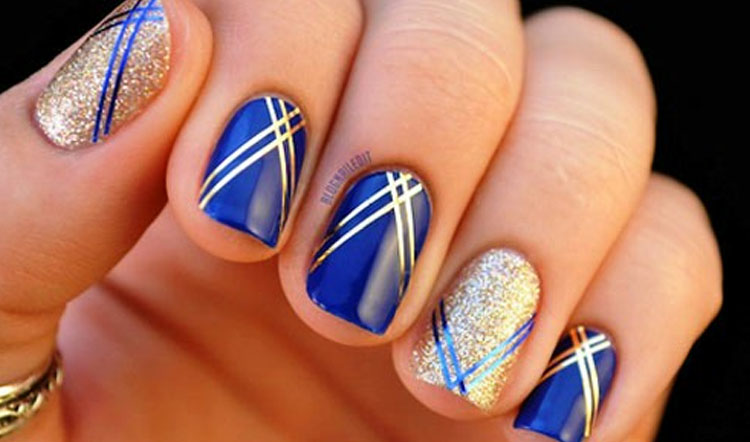 12 Blue And Silver Nail Designs Images - Royal Blue and Silver Nail ...