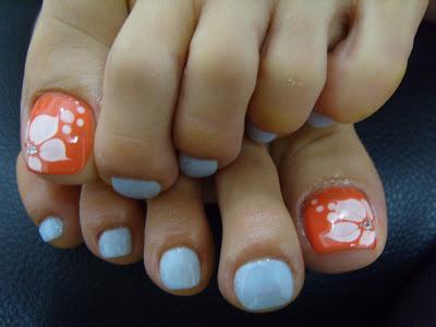 9 Orange Toenail Polish Designs Images