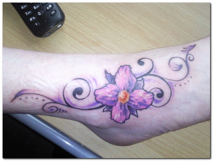 Orchid Flower Tattoos On Foot