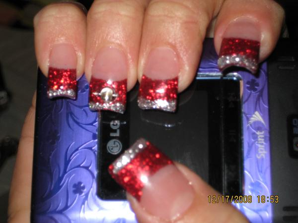 13 Red Nail Tip Designs Images Red Tip Nail Art Designs Red