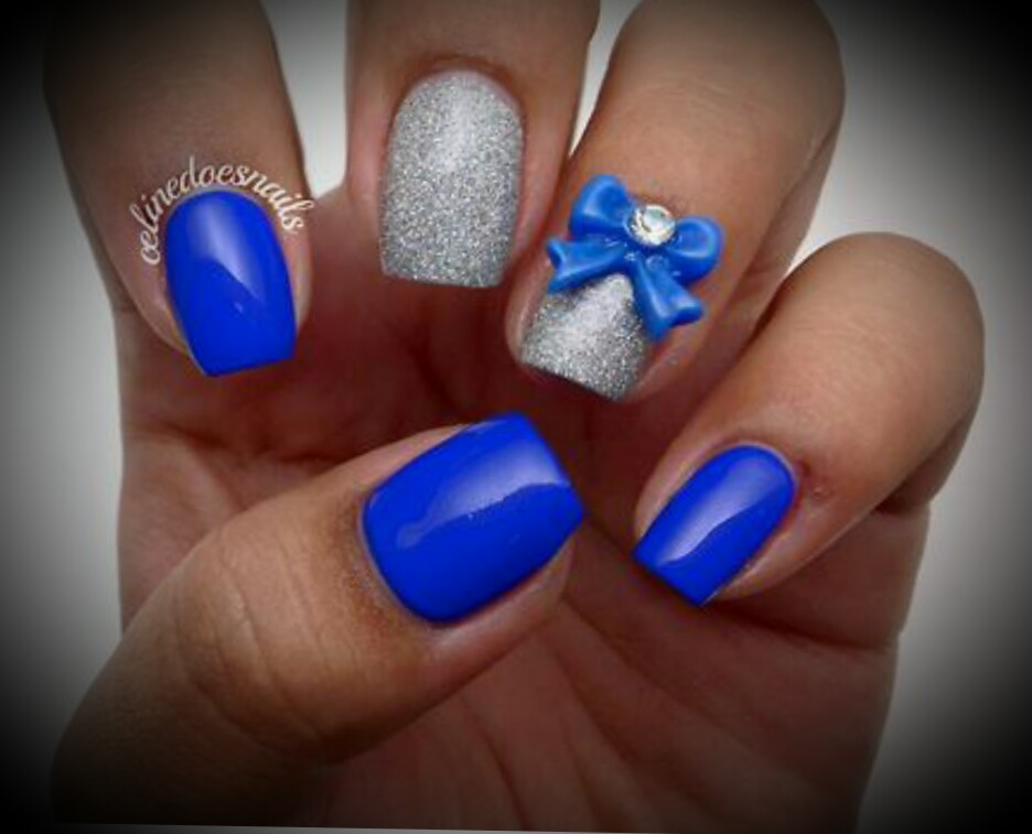 Simple Nail Art Blue And Silver : Blue and silver nail designs images