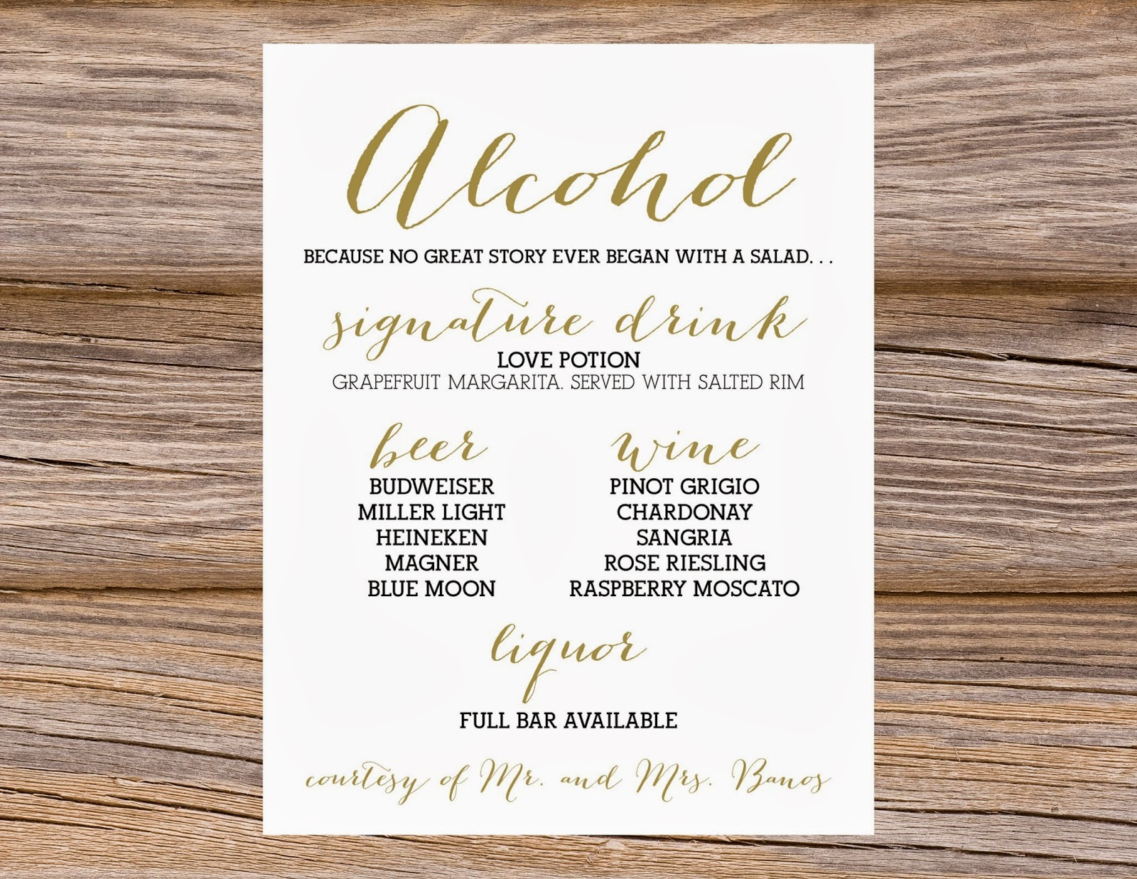 13 bar menu template images bar menu templates free bar for Wedding drink menu template free