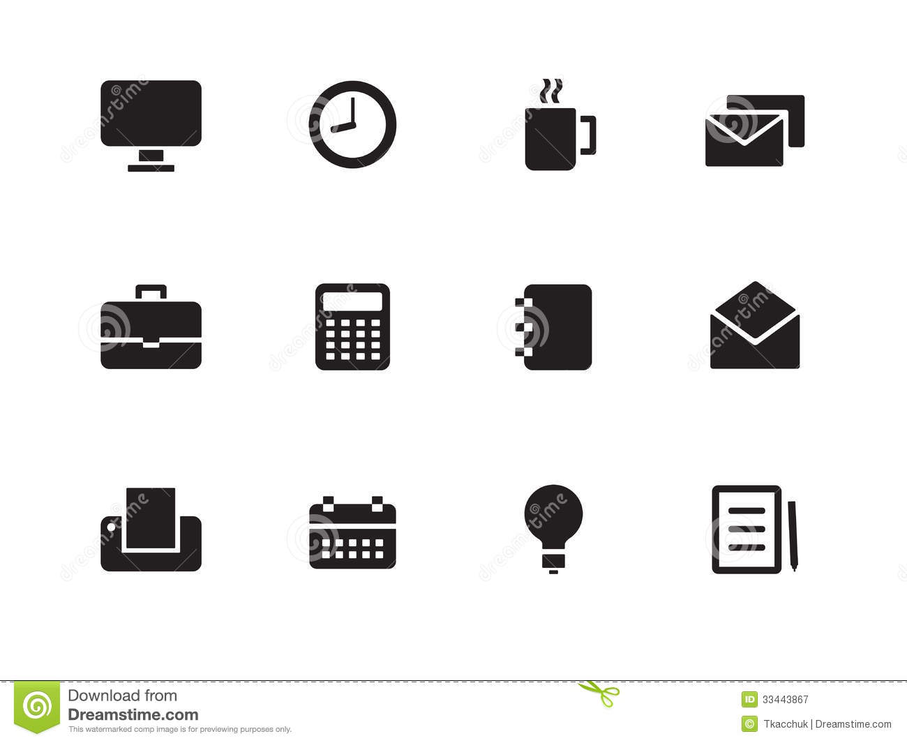 White Business Icons Vector