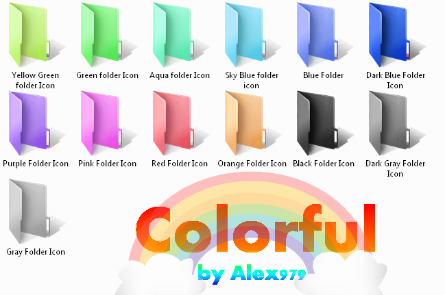13 Colored Individual Folder Icons Images