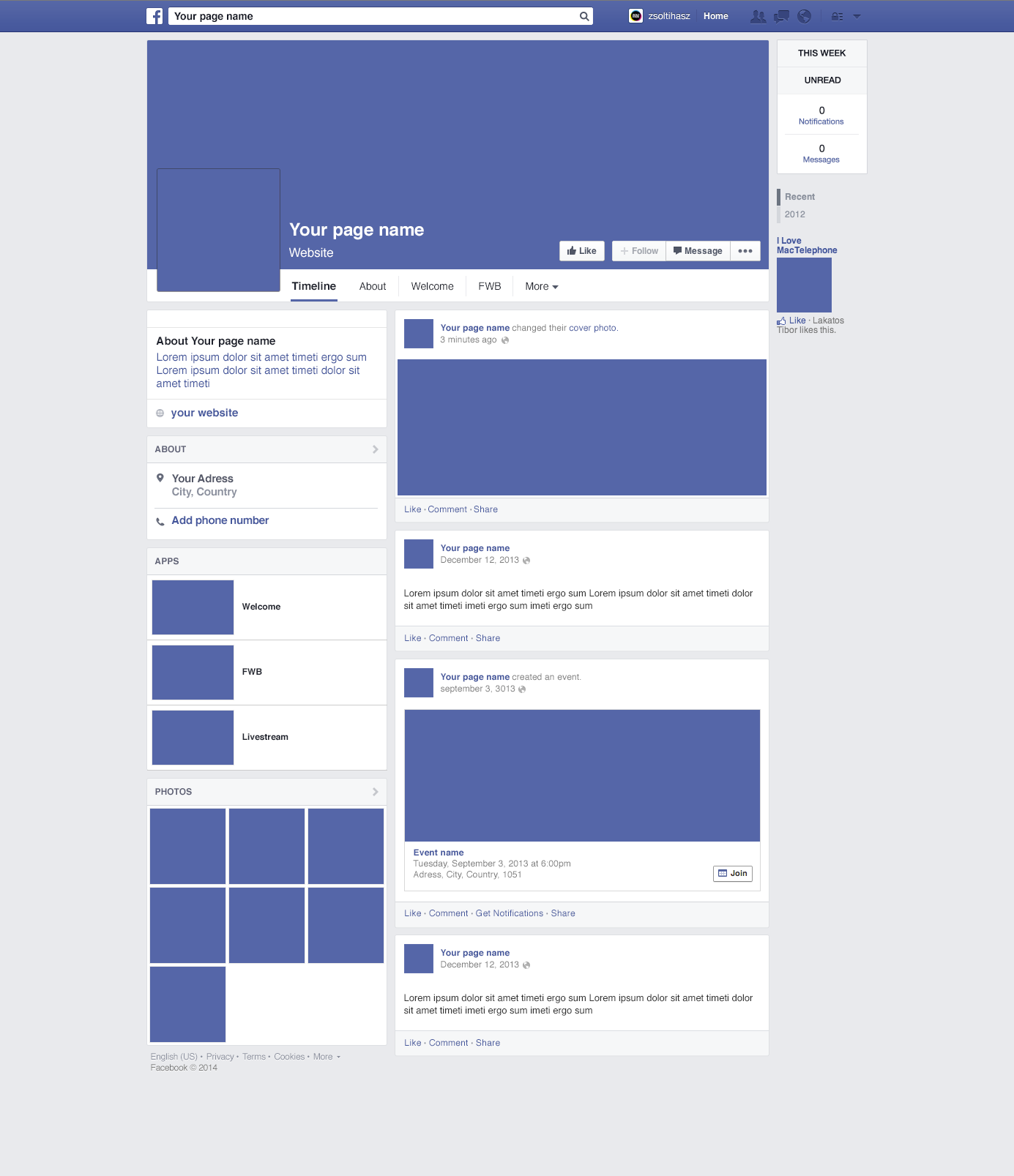2014 Facebook Page Template