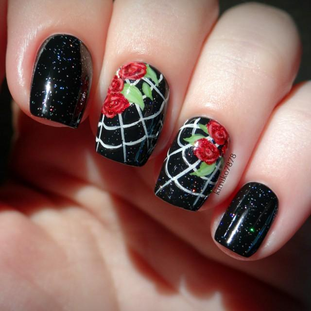 Black Nails with Rose Design