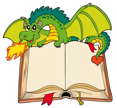 Cartoon Dragon Reading a Book