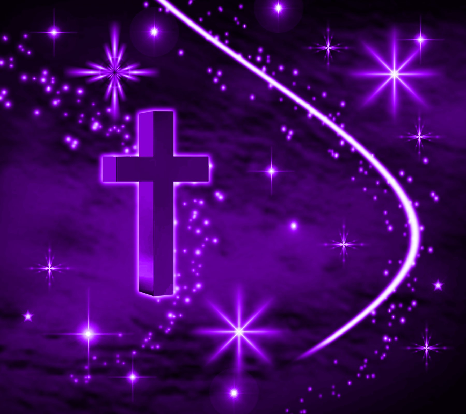 Cross with Purple Stars