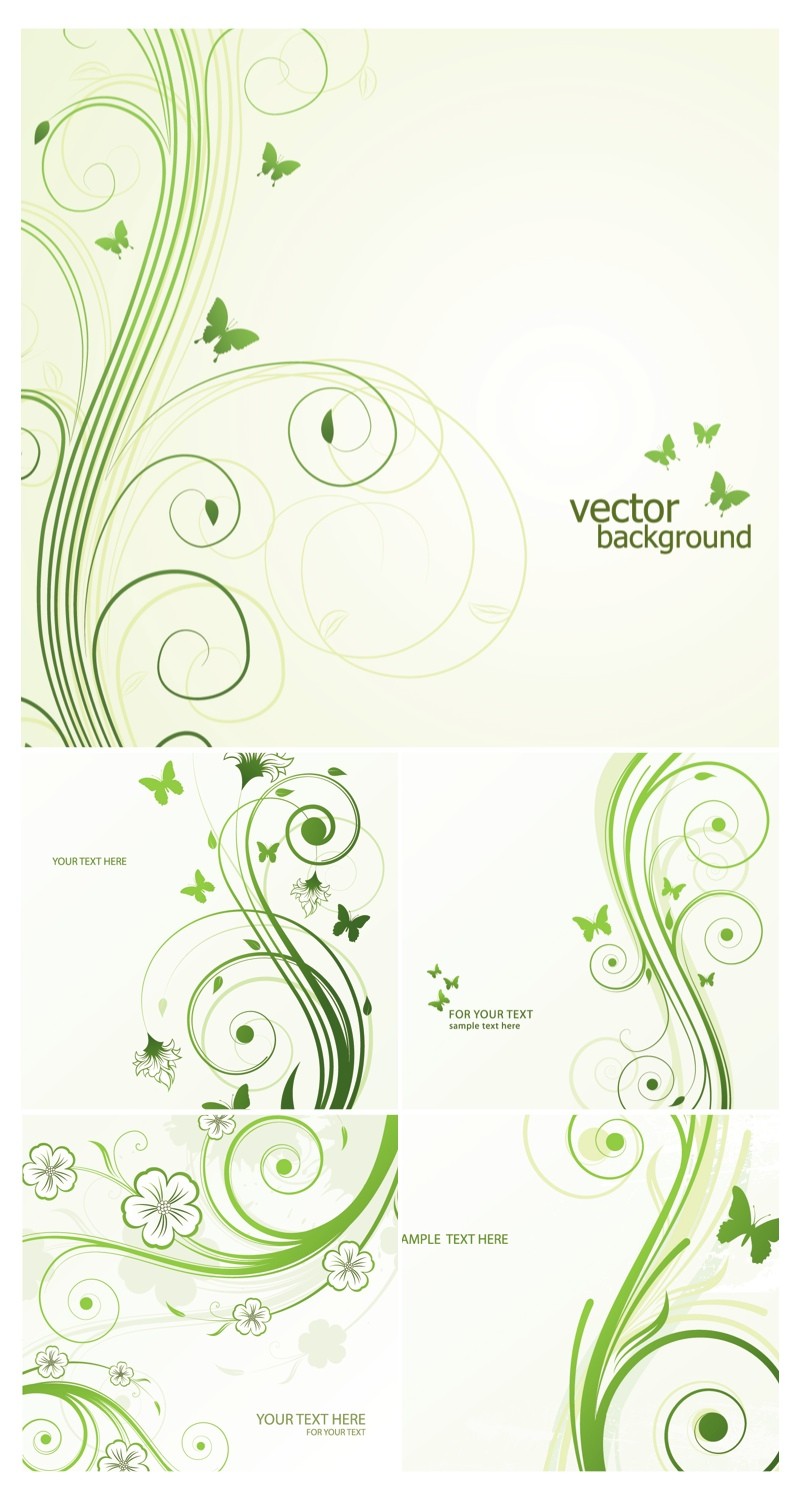 18 Green With Floral Swirls Vector Images