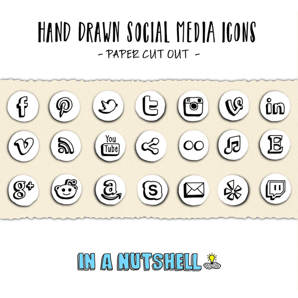 14 Hand Drawn Social Media Icons Facebook Images