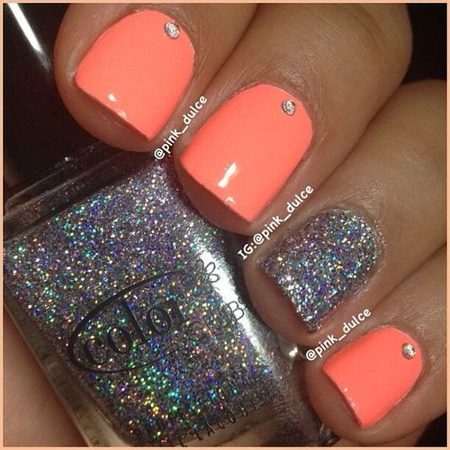 Nail Designs with Coral Color