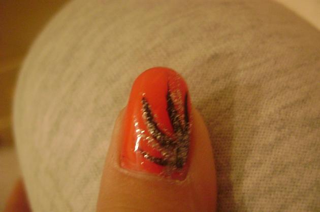 Orange and Black Nail Art Designs