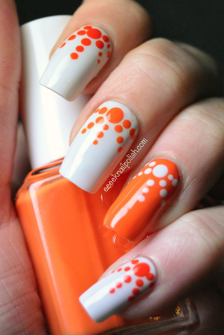 Orange and White Nail Designs