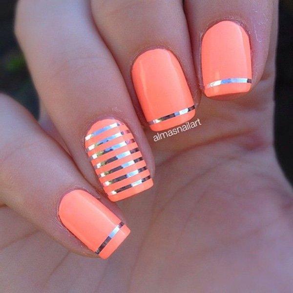 Orange Coral and Silver Nail Design