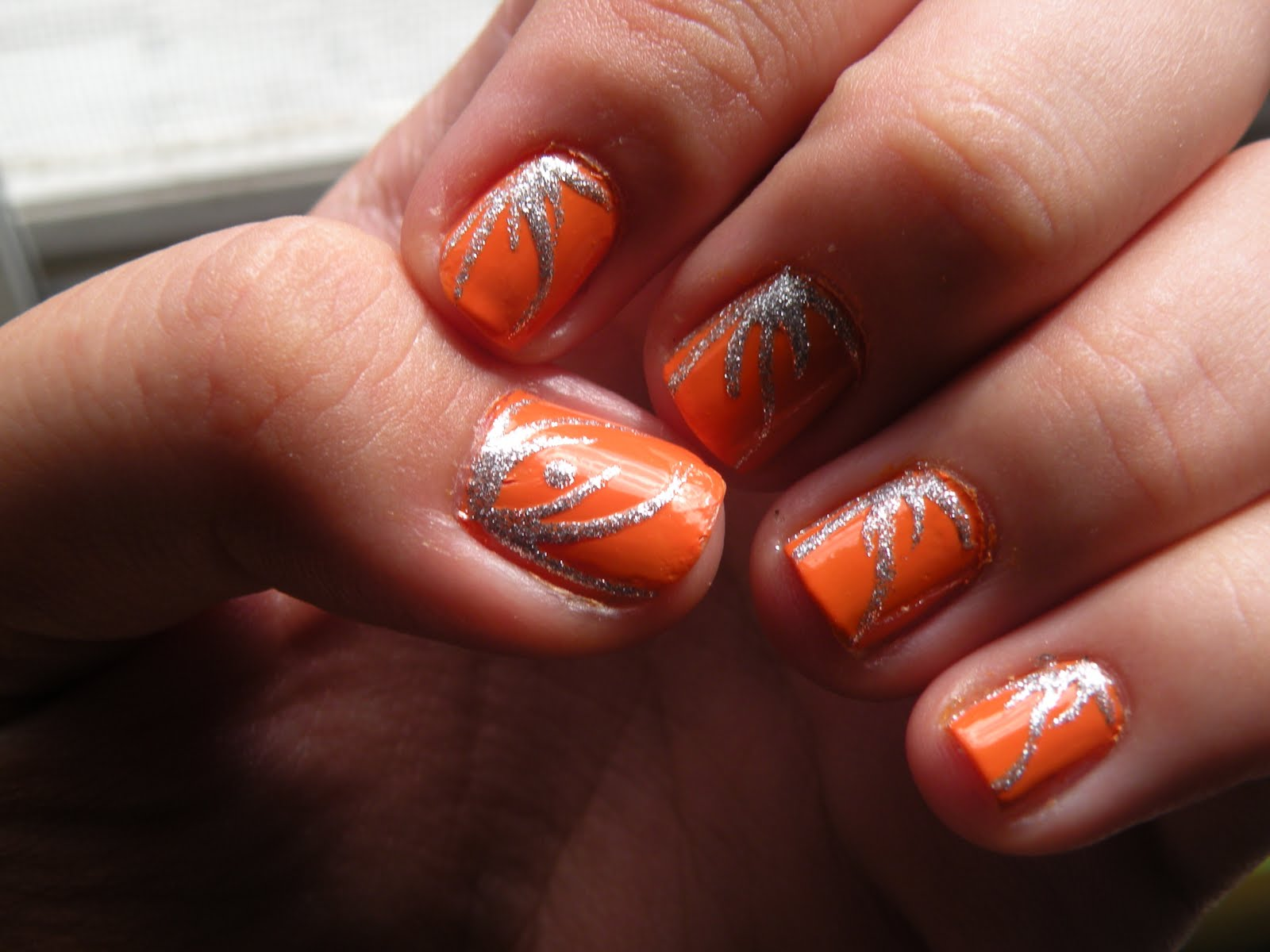 11 Orange And Silver Nail Designs Images