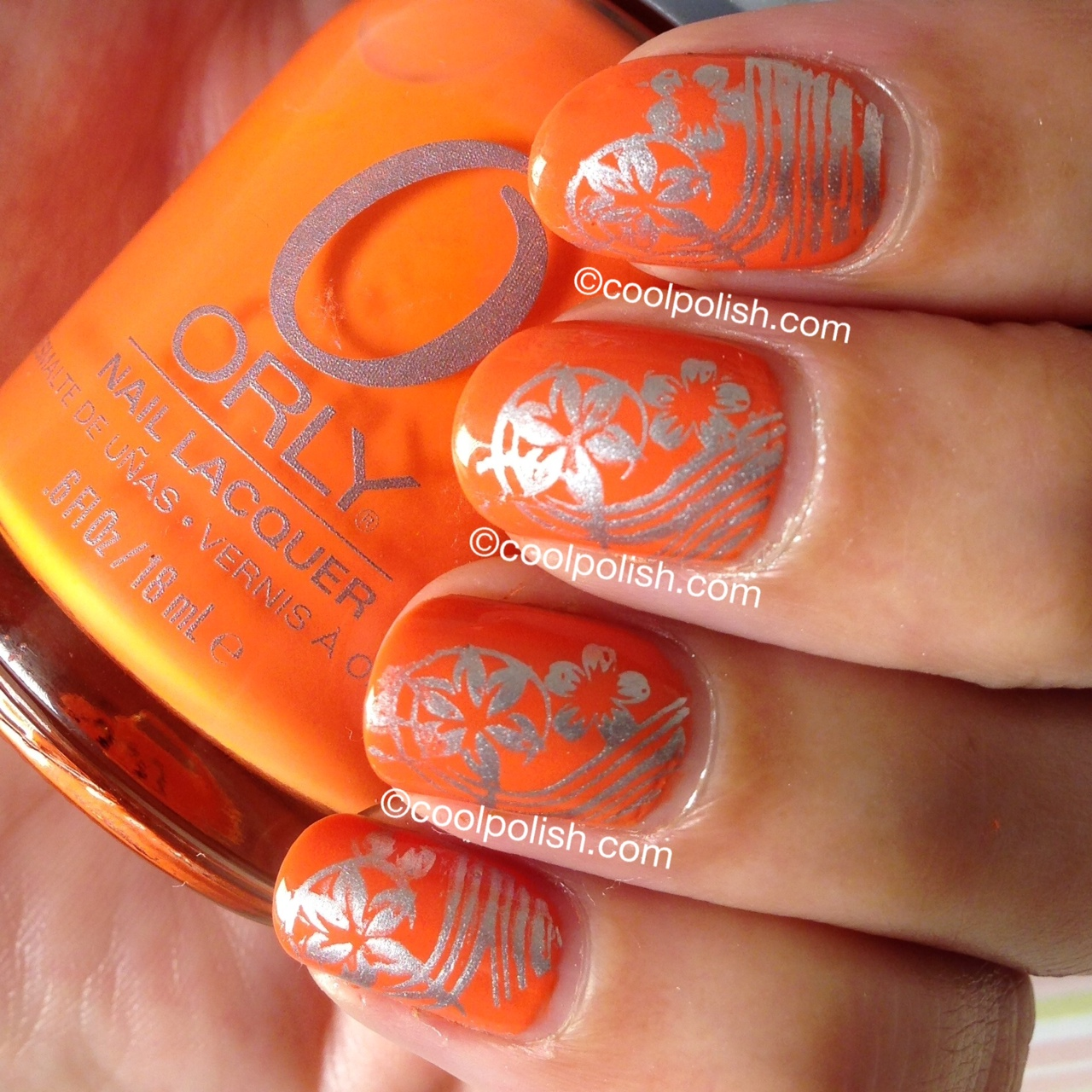 Orange with Silver Nail Design