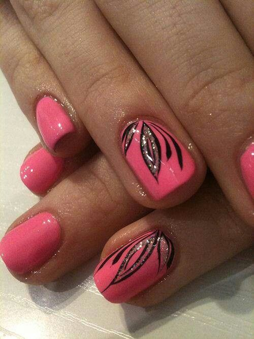 13 Pink Black Silver Nail Designs Images