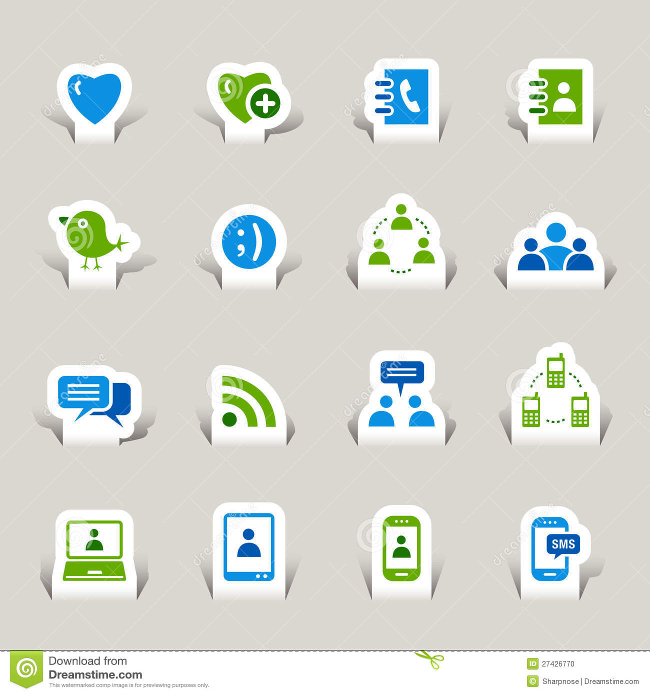 12 Social Media Icons Tear Paper Images