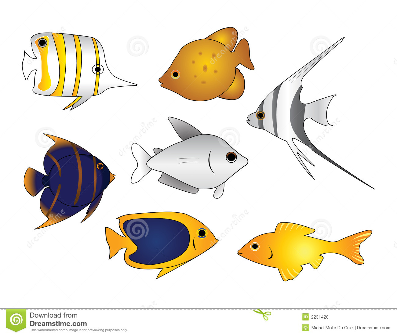 9 Tropical Fish Pattern Vector Images