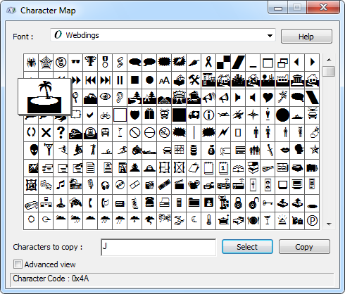 Webdings Character Map
