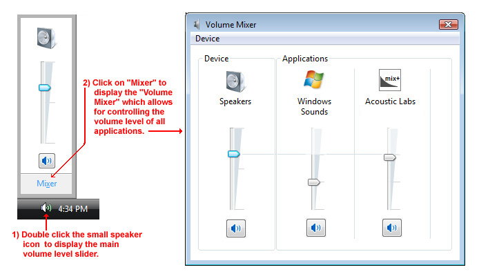 The windows vista volume mixer.