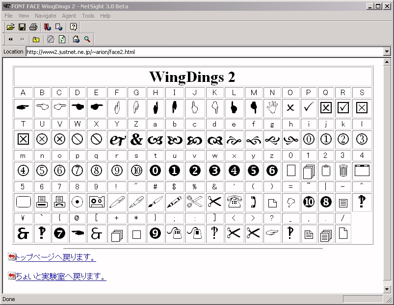 Wingdings 2 Character Map
