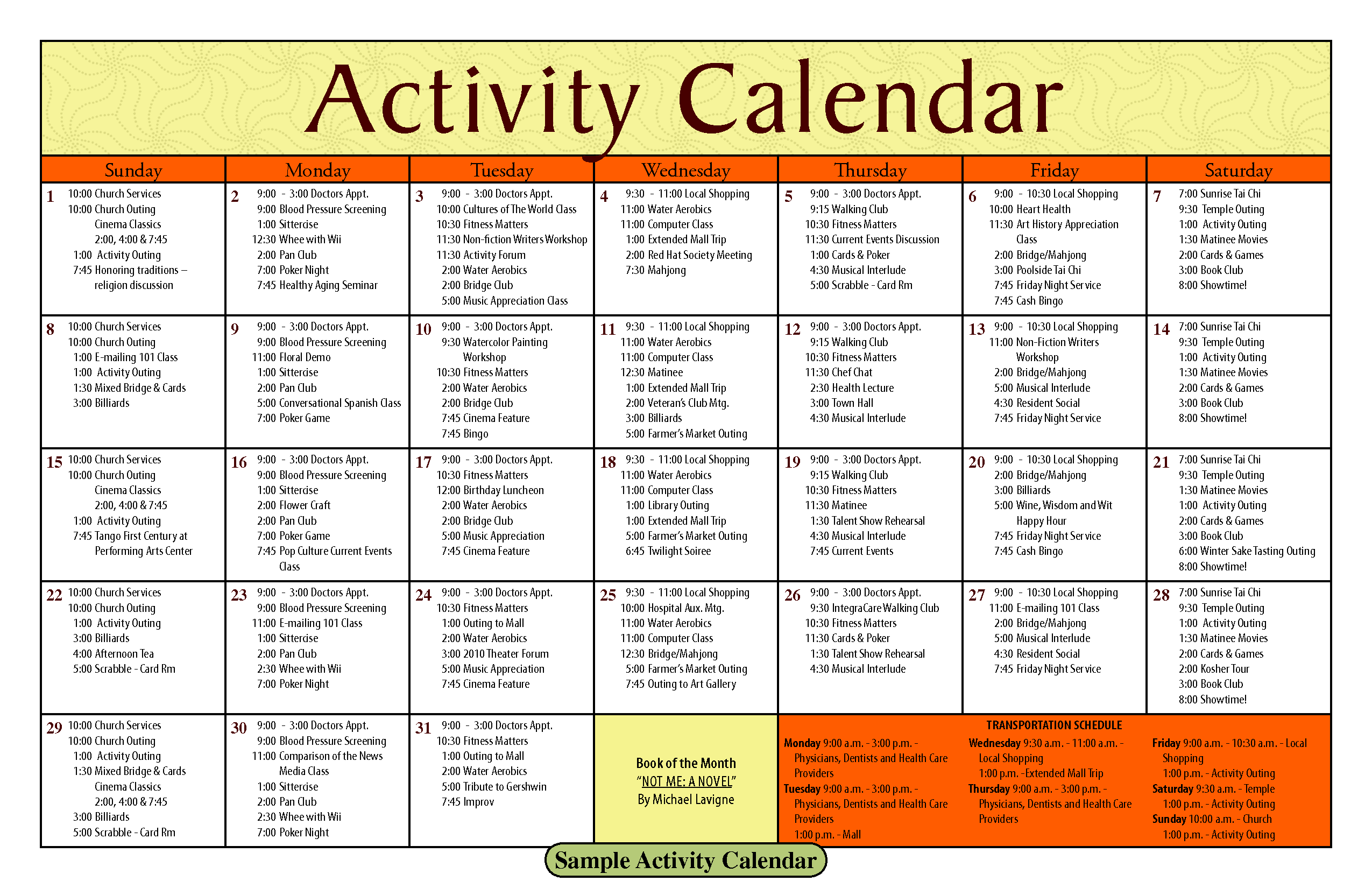 14 blank activity calendar template images printable for Activity programme template