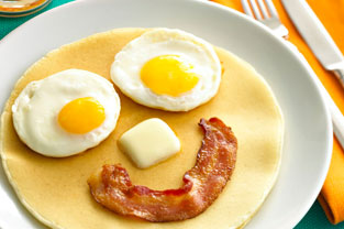 Bacon Eggs Pancakes Smiley-Face