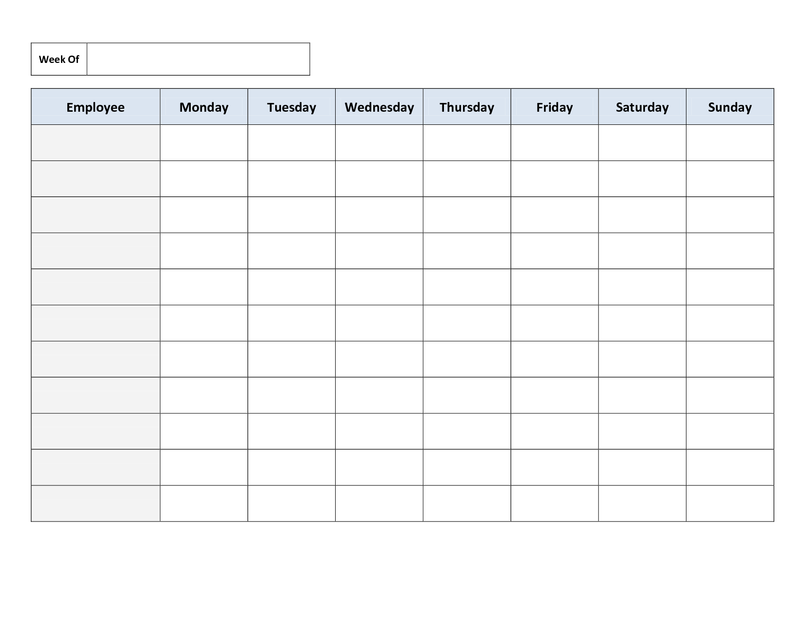 18 Blank Weekly Employee Schedule Template Images
