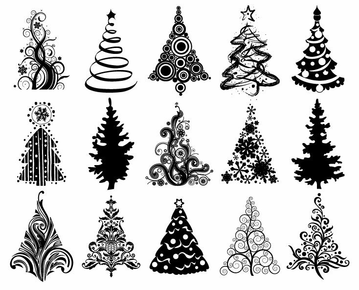 17 White Christmas Tree Vector Images