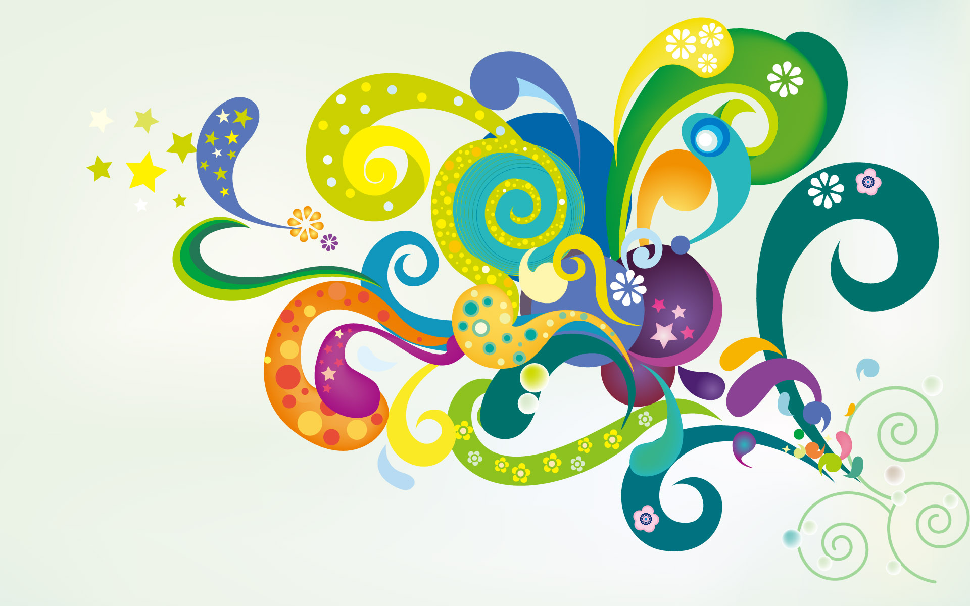Colorful Flowers Vector Wallpaper Designs