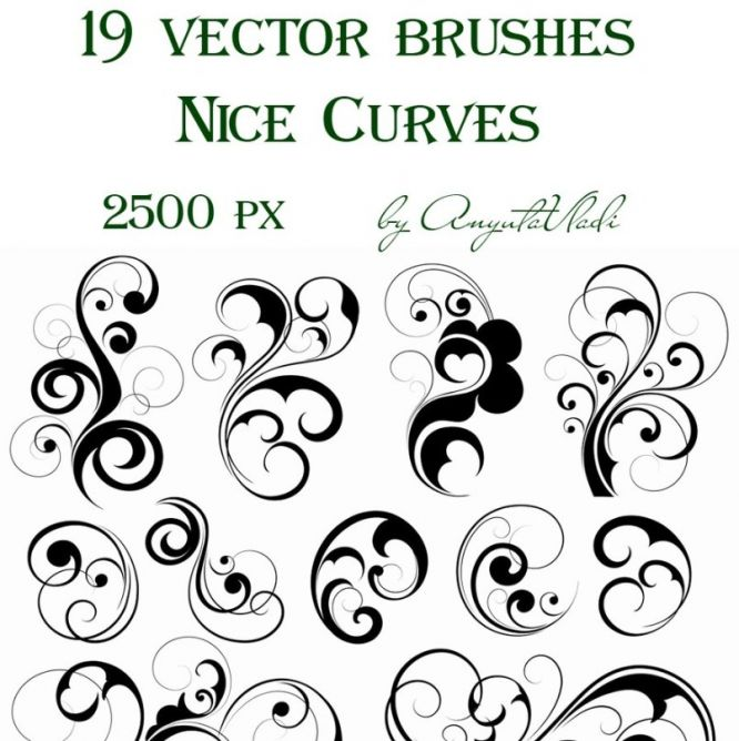 12 Vector Brush Swirls Images