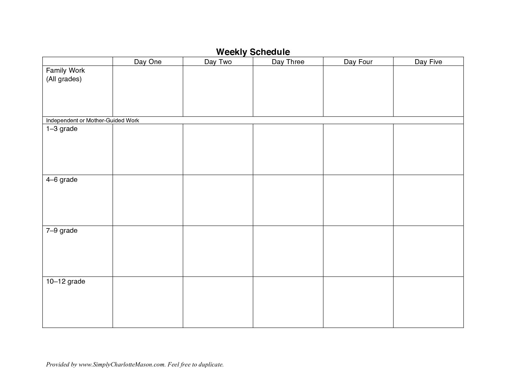 Free Weekly Work Schedule Template