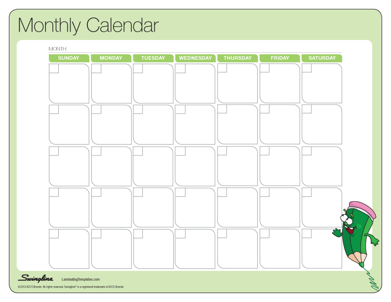 Calendar Monthly Activities : Blank activity calendar template images printable