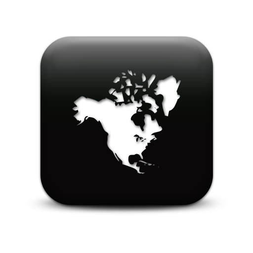 North America Map Icon Black