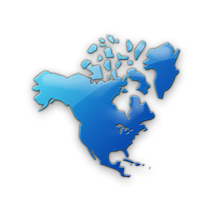 North America Map Icon Blue