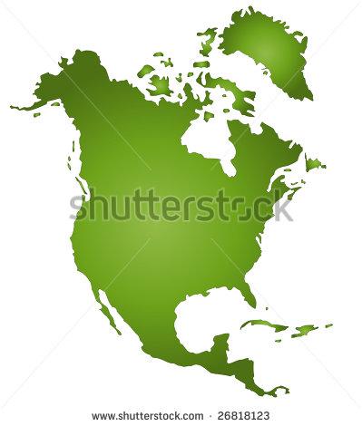 North America Map White Background