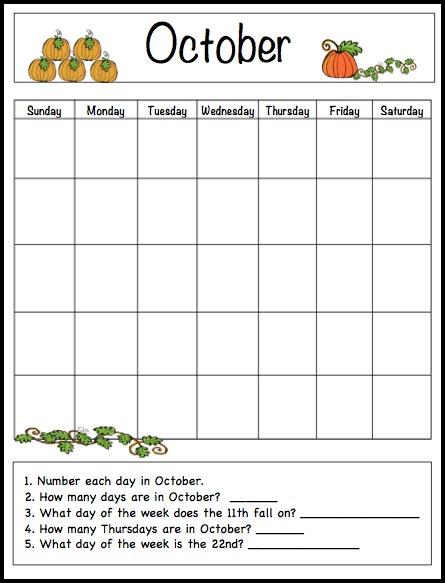 October Kids Calendar Template