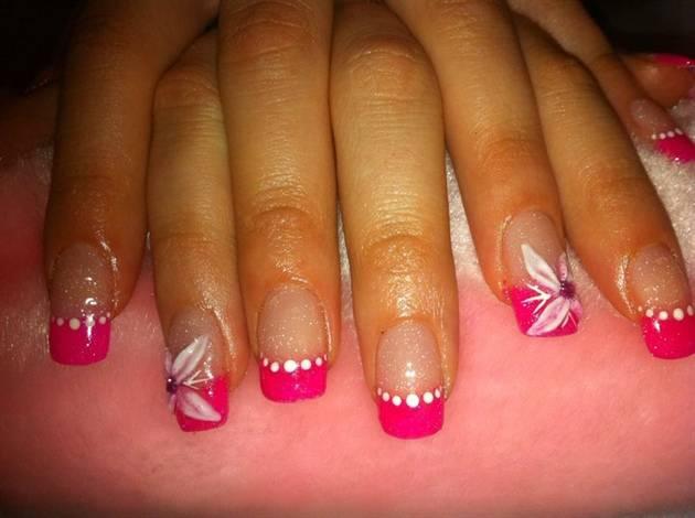 Pink Acrylic Nail Art