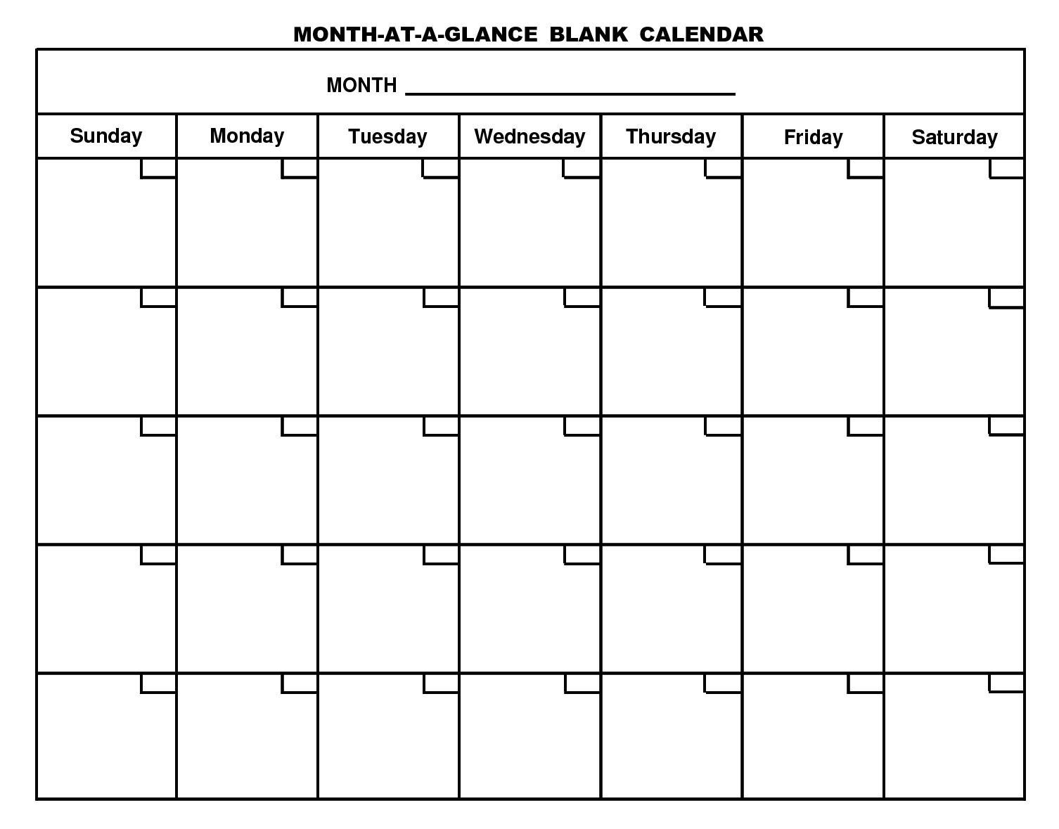Printable Blank Calendar Template